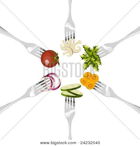 Forks With Vegetables Circle.