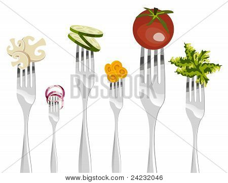 Forks And Vegetables Sequence.