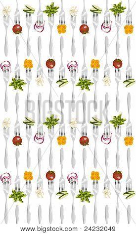 Forks With Vegetables Pattern.