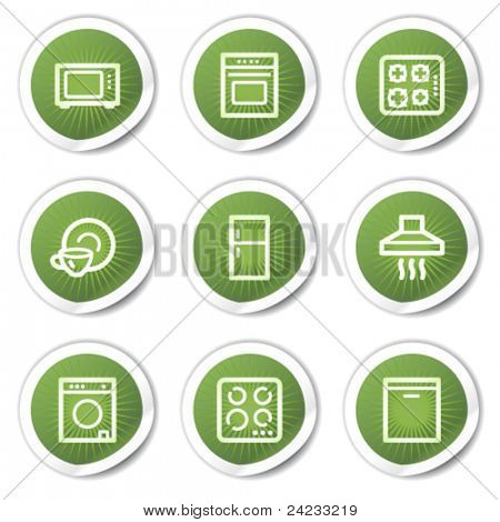 Home appliances web icons, green stickers