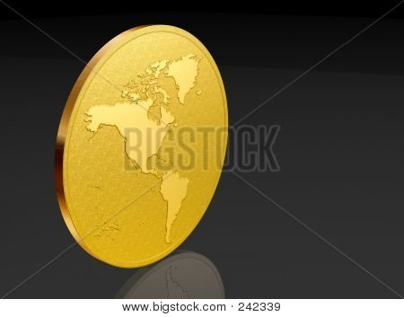 American Map On  Golden Coin