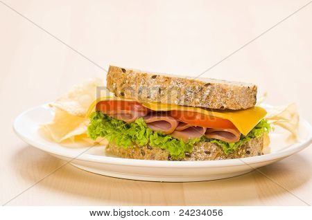 Close-up Shoot Of A Sandwich With Rich Salad