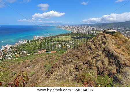 Wide-angle View Of Honolulu, Hawaii