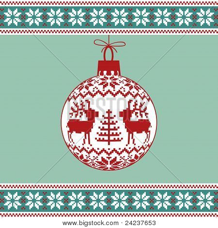 Christmas ball with nordic pattern