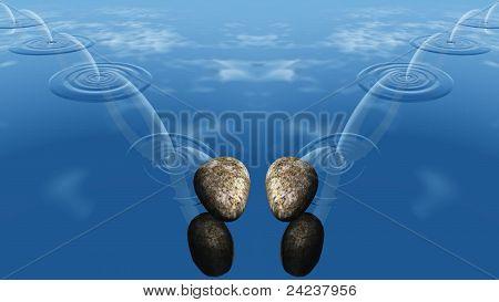 Querschläger von Steinen