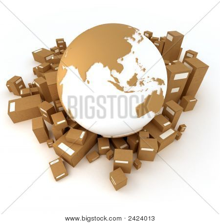 Earth North America Oriented Surrounded By Packages