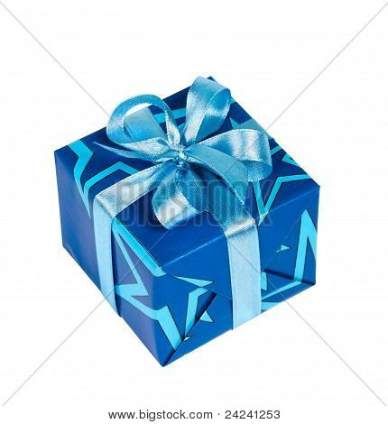 Gift Box Tied With Blue Ribbon