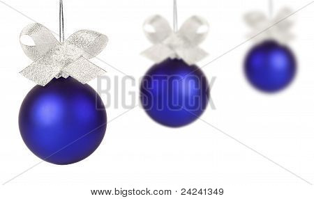 Blue Christmas Ball With Silver Ribbon Isolated On White