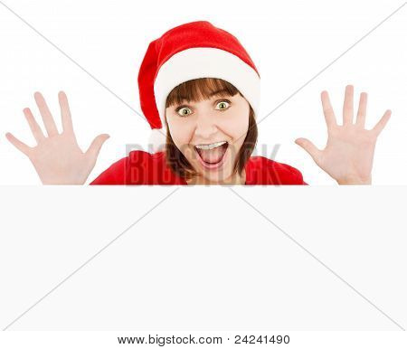 Surprised Santa Woman Peeking From Blank Billboard