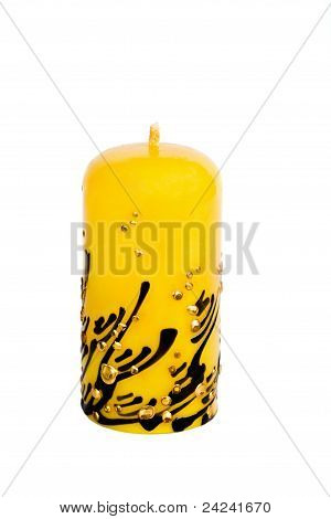 Yellow Candle Isolated On White