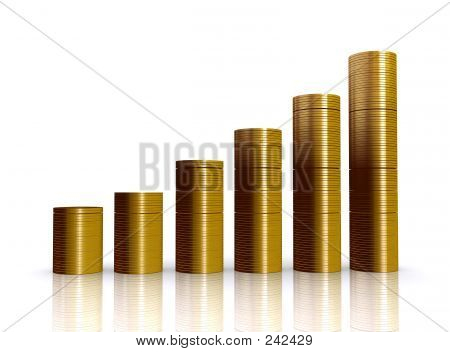 Coins Graph Over White