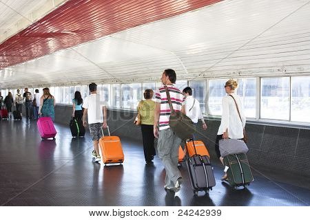 Passengers In Transit. Barcelona Airport