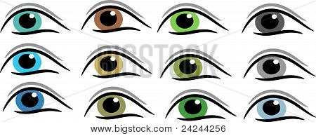 Set of different eye colours