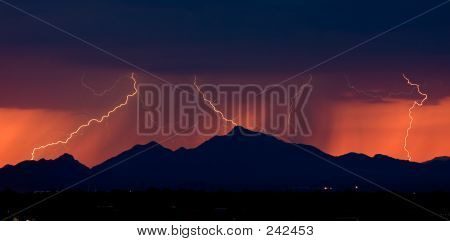 Distant Sunset Lightning