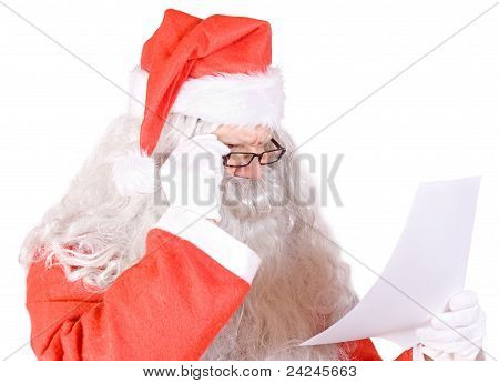 Santa Claus reads the letter