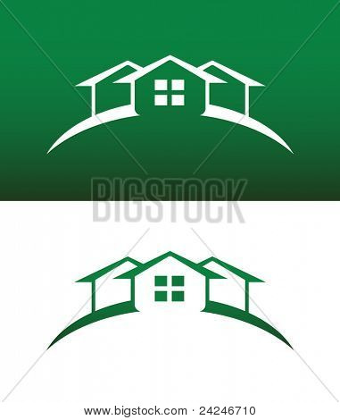 Arched Green House Icon with Window Vector Both Solid and Reversed.