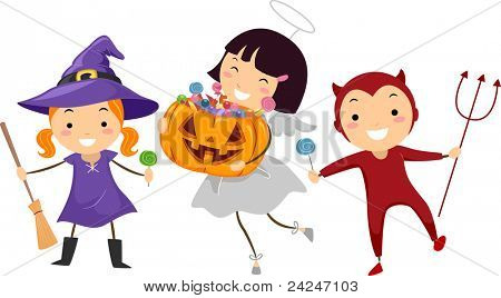 Illustration of Kids Trick or Treating