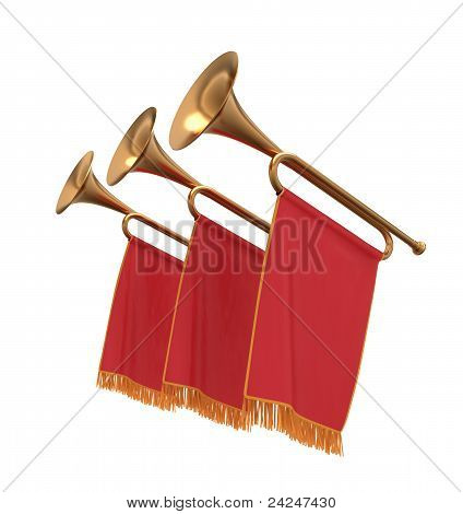 Three Trumpets With A Red  Banners Flags Pennants.