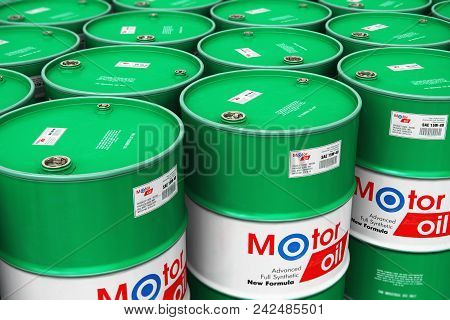 poster of 3d Render Illustration Of The Group Of Green Stacked Metal Drum Canisters Or Barrel Containers With