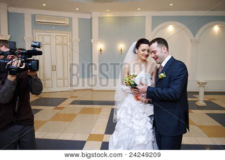 Happy Bride And Groom On Solemn Registration Of Marriage