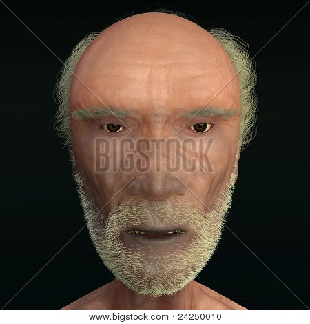 Men 3D Face Wiew On Black Background