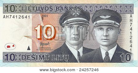 10 Lithuanian litas, the front side.