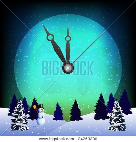 Clockwise on the full moon and winter landscape for New Year midnight