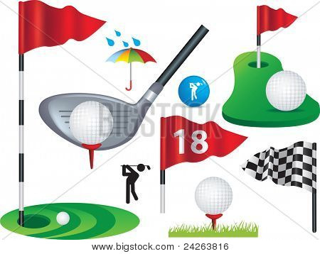 Golf ball, flags and golfing design elements some use gradient mesh