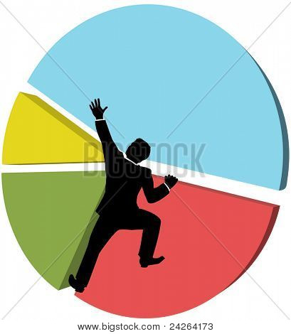 Business man climbs up a pie chart to strive for bigger piece of market share