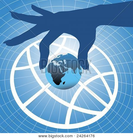 Person hand holding up planet Eastern hemisphere over globe symbol and grid background