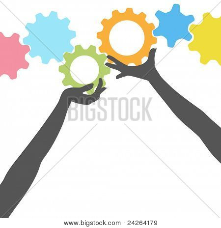 Female silhouette people hands hold up technology gears in colorful row