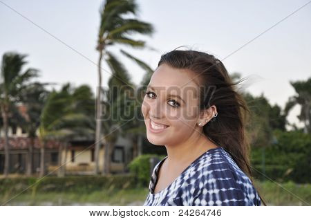 Teenage Girl With Windblown Hair