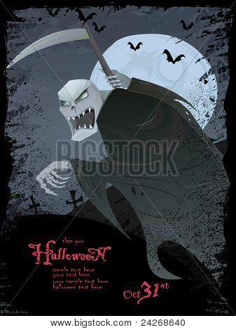 Vector Halloween Template With Grim Reaper