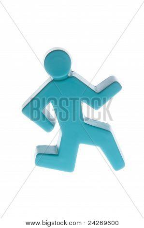 Blue Stick Man Running