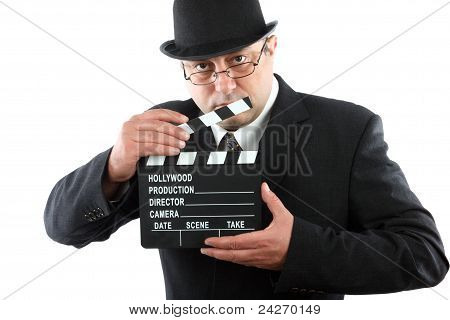 Man Holding Movie Clapboard