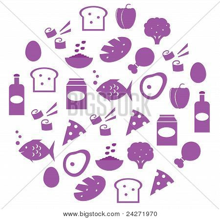Purple Abstract Globe With Food Icons Isolated On White..