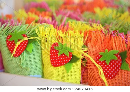 Small Color Baskets With Sugar Candys