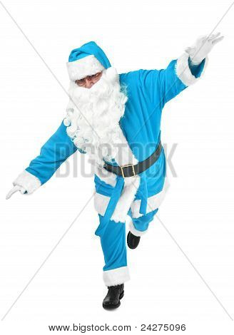 Funny Pose Of Blue Santa Claus