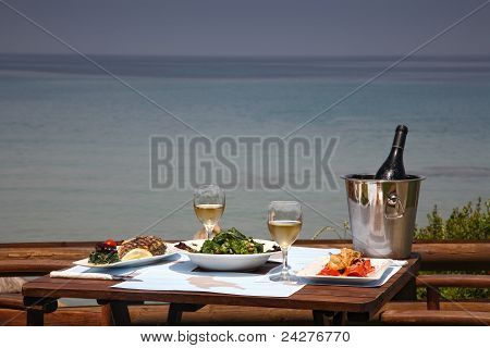 Lunch On A Table For Two At Restaurant