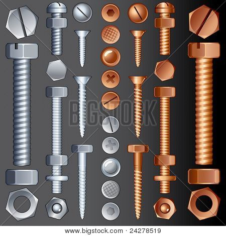 Steel and Brass Hardware, set of Screws, Rivets and Bolts