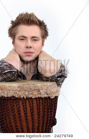 Man posing with his djembe