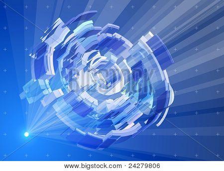 Raios de luz no espaço azul, criando um holograma radial - Ramblas itechnology abstrata. BITM