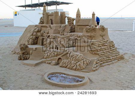 Sand castle on the beach in Valencia, Spain.