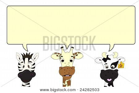 Zebra, Giraffe And Cow With Speech Bubble