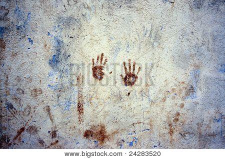 Marke der Hände an einer Wand