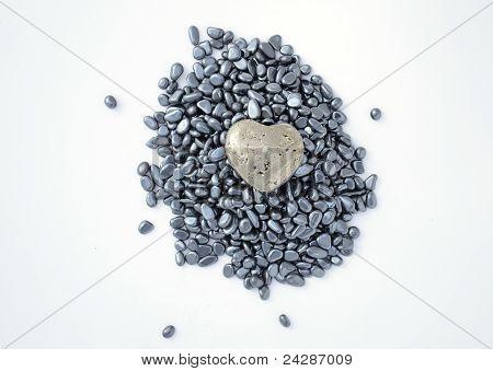 Pyrite heart on hematite pebbles
