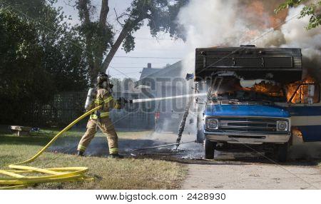 Firefighter Battles Rv Inferno