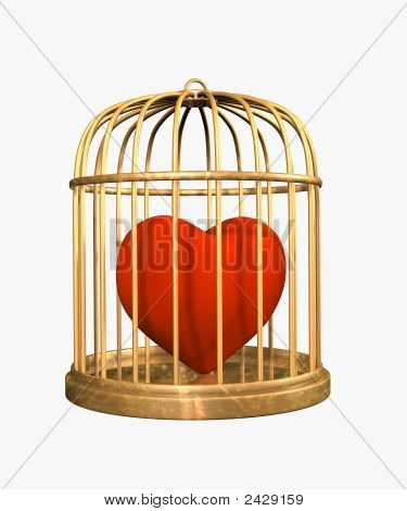3D Velvet Heart, Closed In A Gold Cage