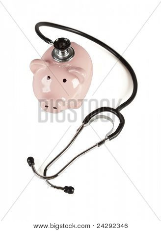 Piggy Bank and Stethoscope Isolated on a White Background with Slight Shadow.