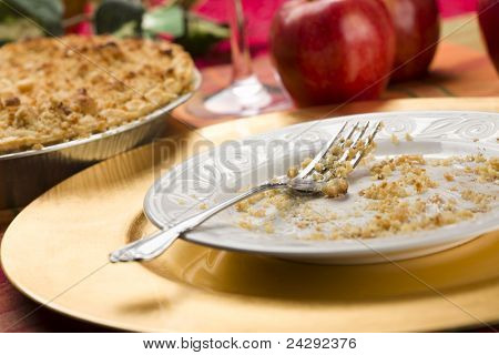 Apple Pie, Empty Plate with Remaining Crumbs and Fork.